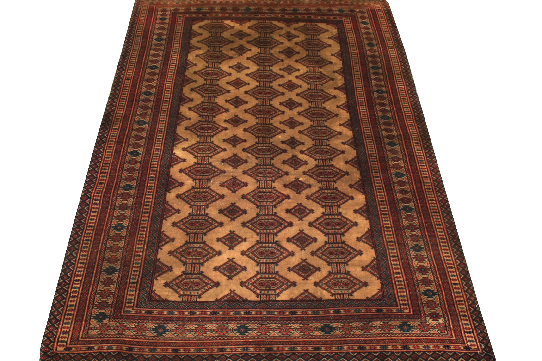 4x6 Geometric Hand Knotted Wool Area Rug - MR19449