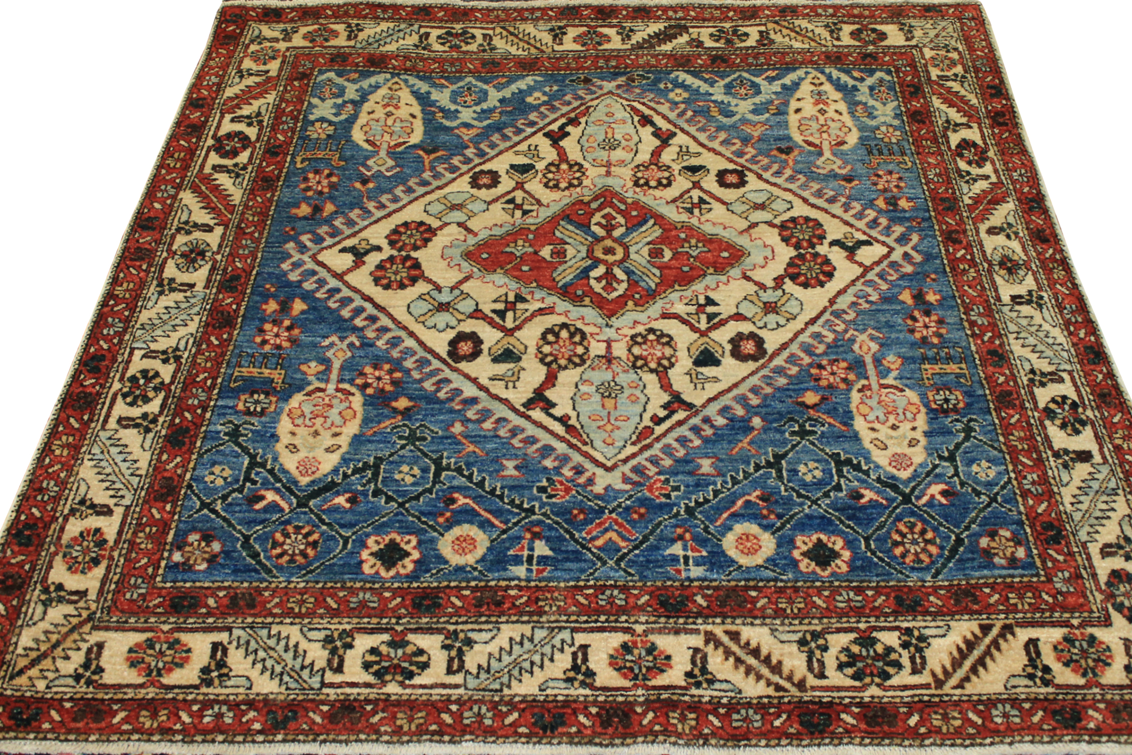 5 ft. Round & Square Antique Revival Hand Knotted Wool Area Rug - MR19579