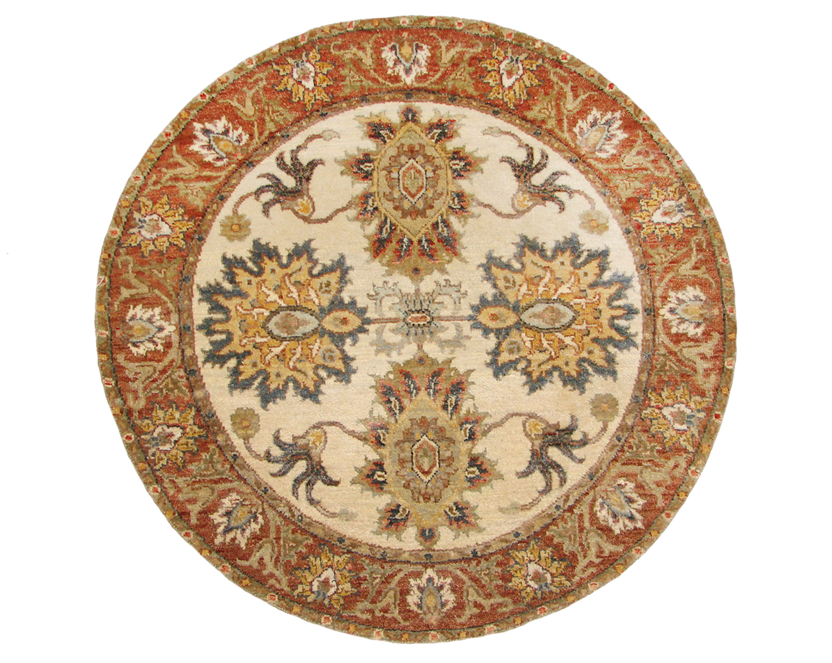 3 ft. Round & Square Traditional Hand Knotted Wool Area Rug - MR19662