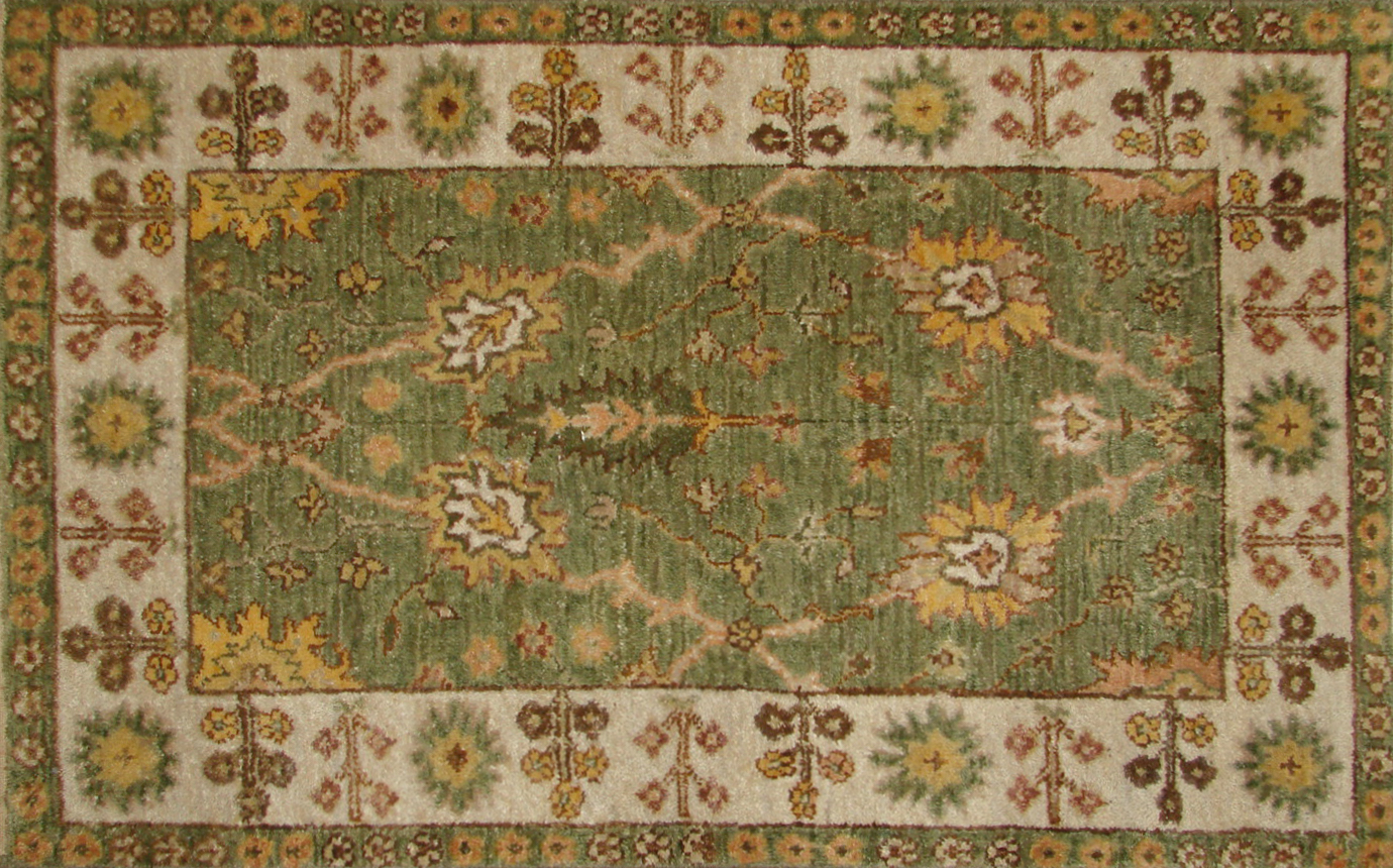 2X3 Traditional Hand Knotted Wool Area Rug - MR19870