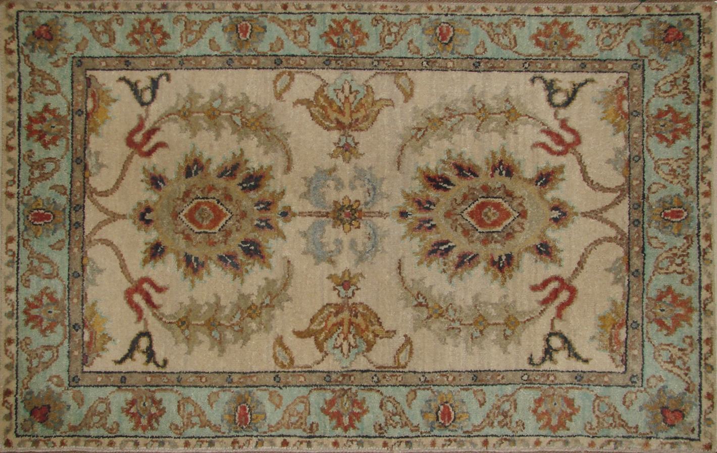 2X3 Traditional Hand Knotted Wool Area Rug - MR19873