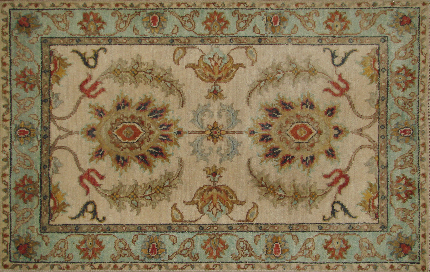 2X3 Traditional Hand Knotted Wool Area Rug - MR19874