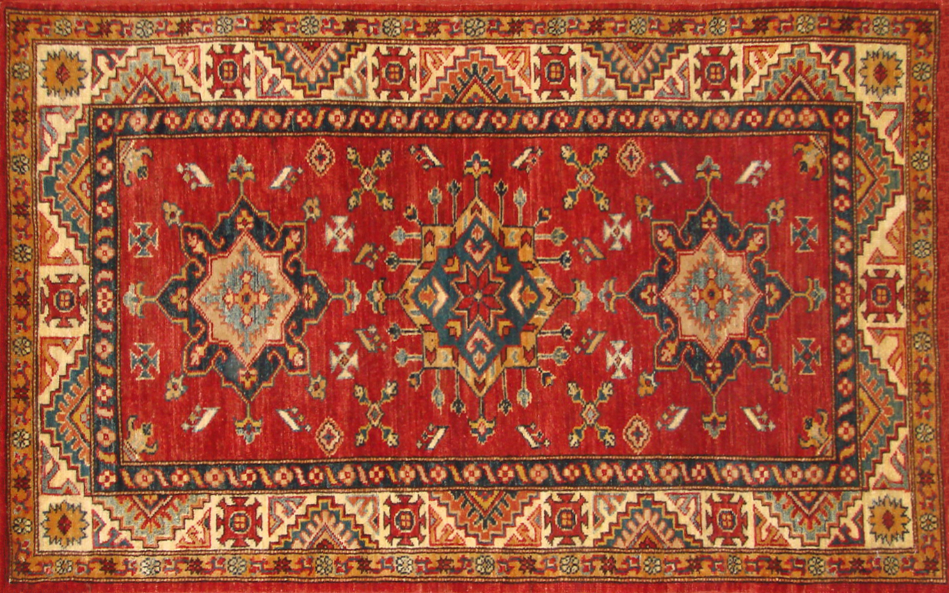 3x5 Kazak Hand Knotted Wool Area Rug - MR19970